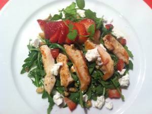 Grilled Chicken served over arugula, goat cheese and strawberry