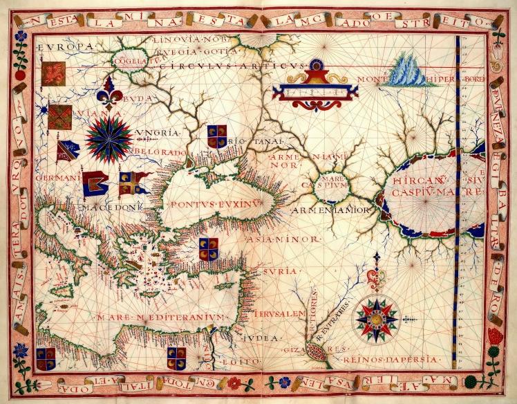 Map of Near East – Fernão Vaz Dourado 1570. Nautical chart of Portuguese cartographer Fernão Vaz Dourado (c. 1520 – c. 1580), part of a nautical atlas drawn in 1570 and now kept in the Huntington Library, San Marino, USA.
