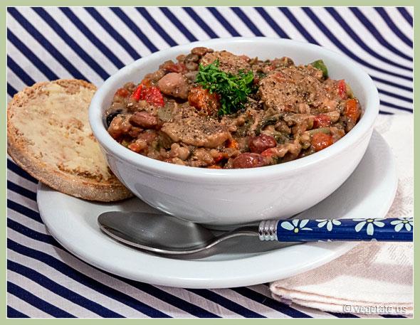 16 Bean, Leek, and Kielbasa Soup ~ From Vegetate, Vegan Cooking and Food Blog
